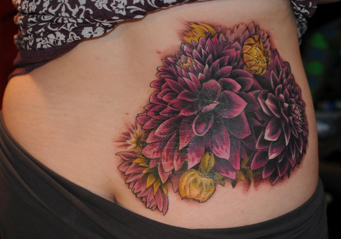 dahlia flower tattoo pictures to pin on pinterest tattooskid. Black Bedroom Furniture Sets. Home Design Ideas