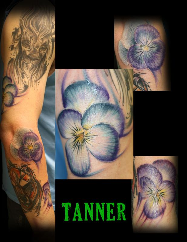 Floral tattoo tanner by tanner vendal tattoos for Custom tattoo armrest for sale