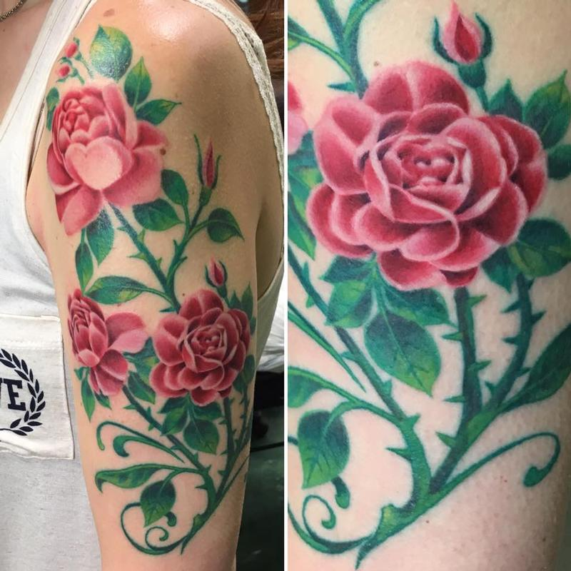 Rose Bush With Thorns Tattoo
