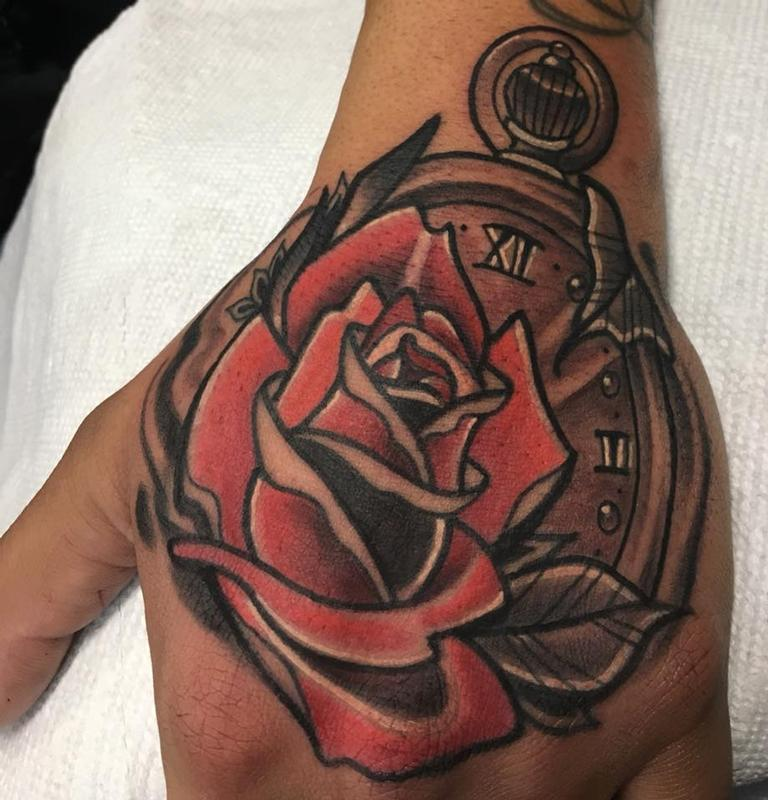 Rose with a stopwatch by jake hand tattoonow for Stop watch tattoos