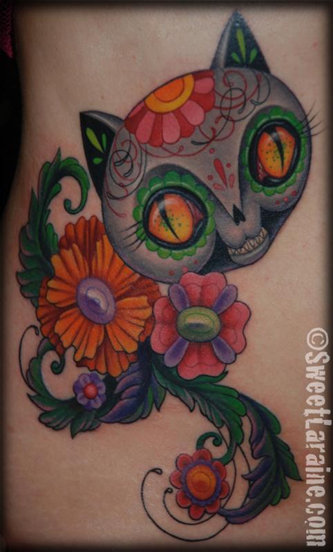Dead cat by sweet laraine tattoonow for Element tattoo san antonio texas