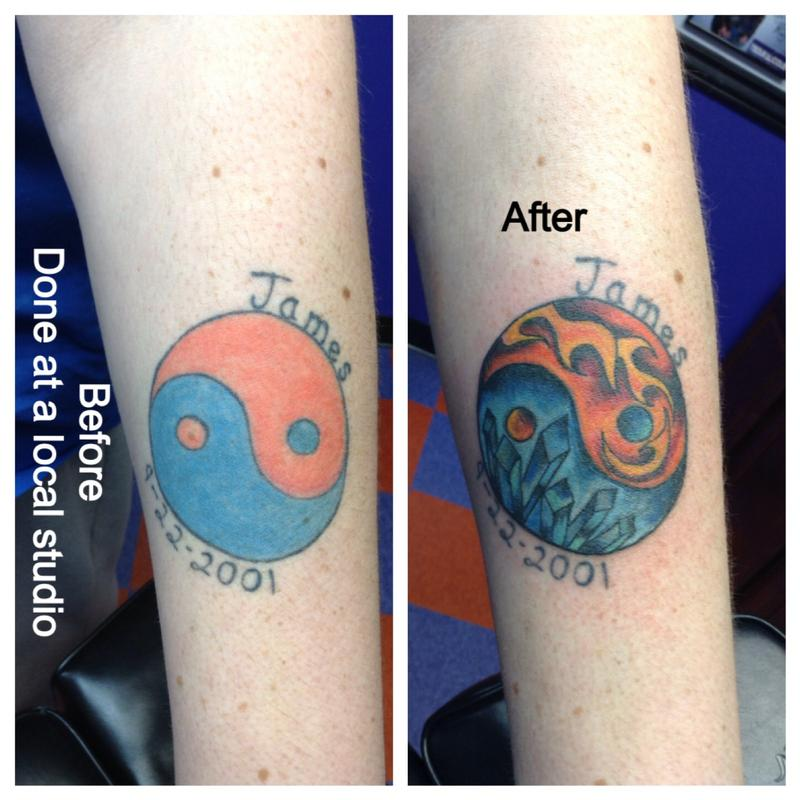 Fire and ice yin yang by cat johnson tattoonow for Fire and ice tattoo shop