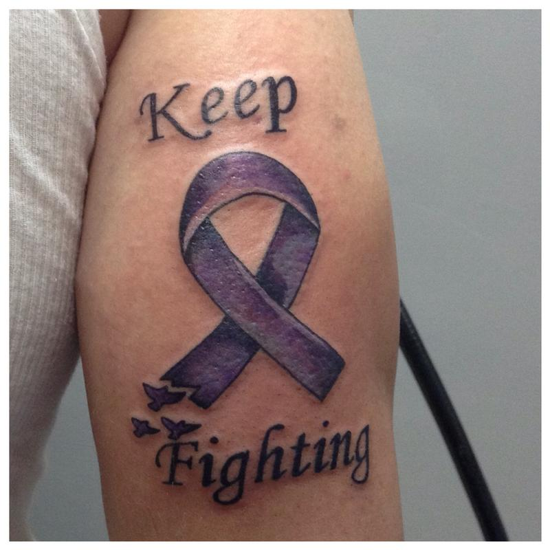 Cancer ribbon by cat johnson tattoonow for Pancreatic cancer ribbon tattoos