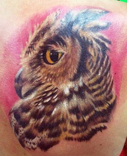 Great Horned Owl Black And Grey Tattoo Great Horned Owl tattoo