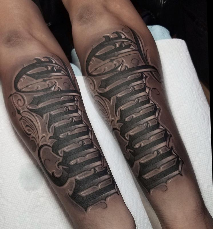Black and grey lettering tattoo by david vega tattoonow for Grey tattoo writing