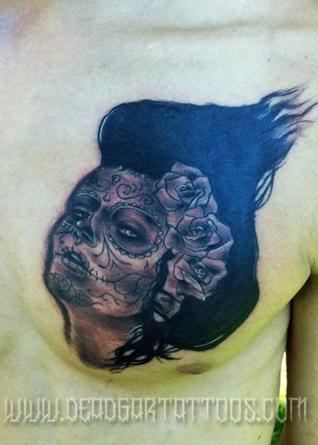 Day of the Dead Chest Tattoos