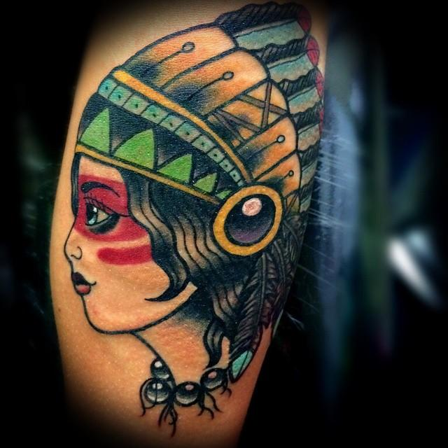 depiction tattoo gallery tattoos traditional old school native american woman tattoo. Black Bedroom Furniture Sets. Home Design Ideas