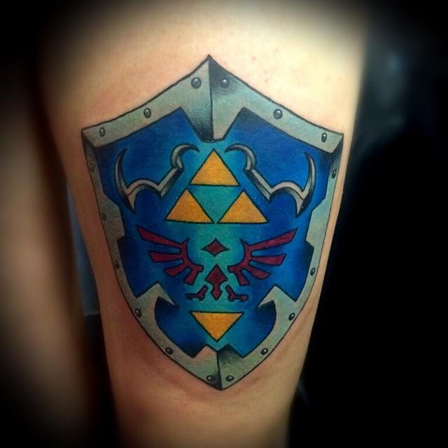 hylian shield tattoo by christopher o 39 toole tattoos. Black Bedroom Furniture Sets. Home Design Ideas