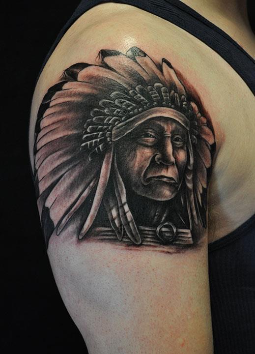indian chief tattoo by nick clark tattoonow