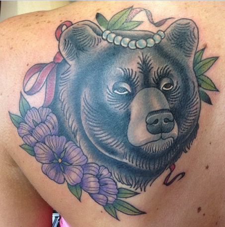 bear and flowers tattoo by sam frederick tattoos. Black Bedroom Furniture Sets. Home Design Ideas