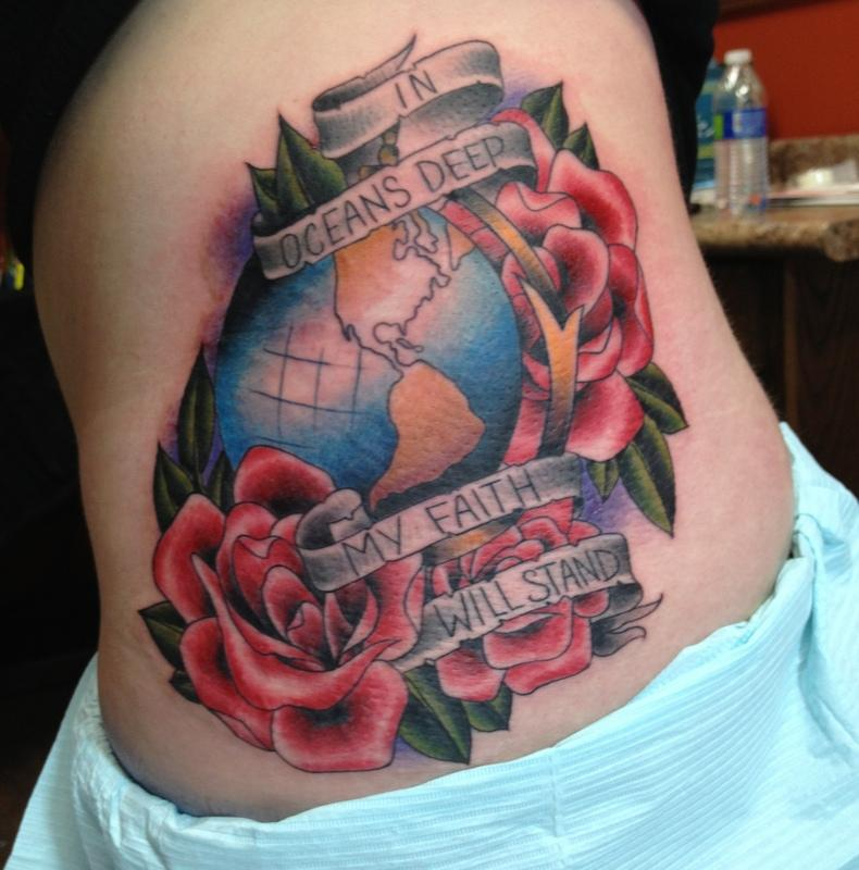 depiction tattoo gallery tattoos body part side globe flowers tattoo. Black Bedroom Furniture Sets. Home Design Ideas