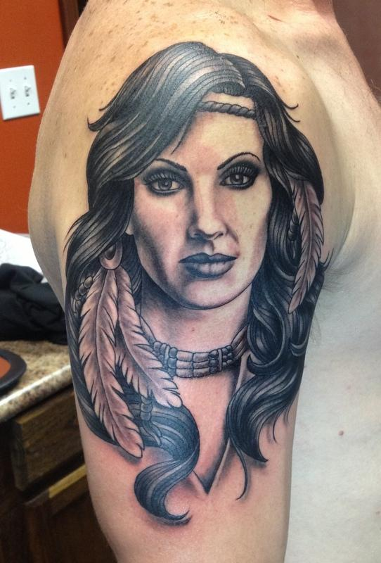 Depiction tattoo gallery tattoos ethnic native for Indian woman tattoo