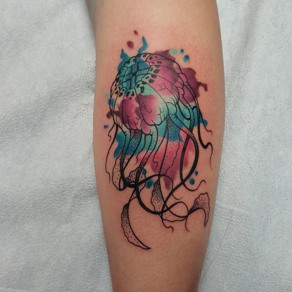 Watercolor jellyfish tattoo arm - photo#17