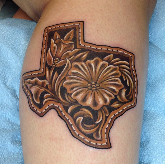 leather tooled texas by john clark tattoonow. Black Bedroom Furniture Sets. Home Design Ideas