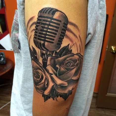 depiction tattoo gallery tattoos body part arm microphone and roses tattoos. Black Bedroom Furniture Sets. Home Design Ideas