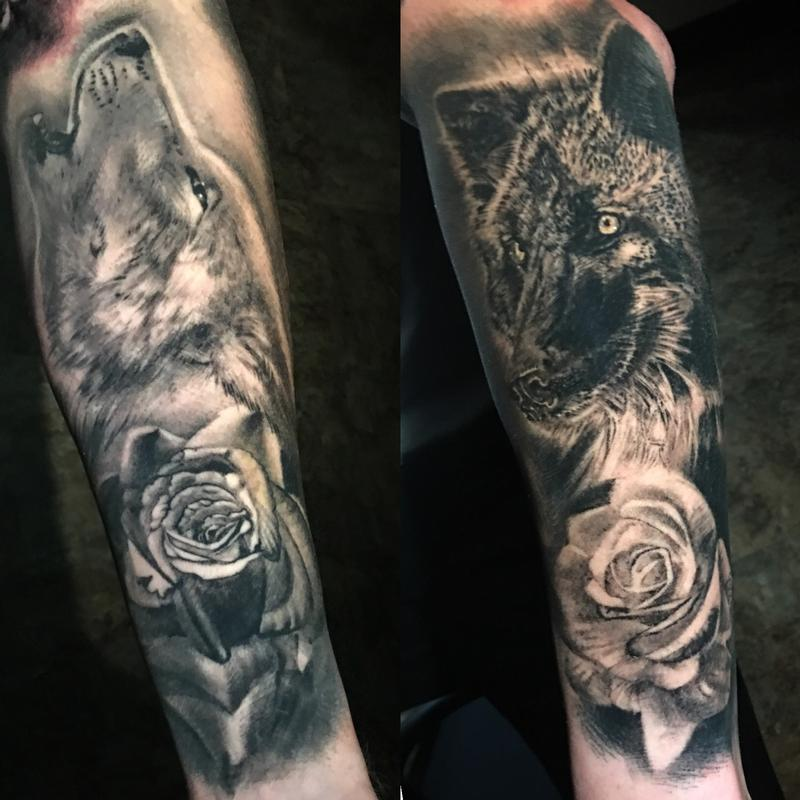 Black And Grey Wolves And Roses Tattoo By Misty Locket Tattoonow
