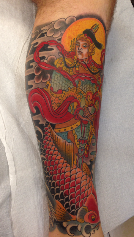 Warrior and koi by dustin golden tattoos for Japanese tattoo chicago