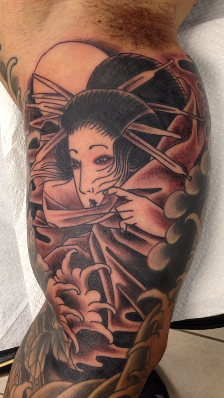 Deluxe tattoo tattoos black and gray geisha for Japanese tattoo chicago