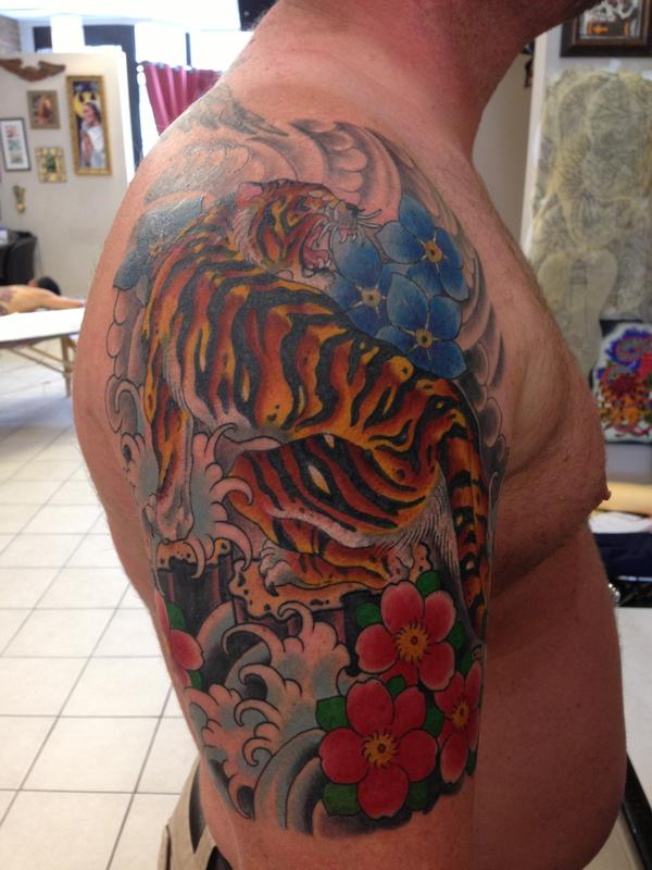 Tiger by dustin golden tattoonow for Tattoo shops in illinois