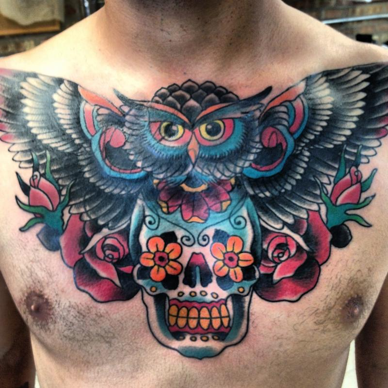 OWL AND SKULL By Dustin Golden : Tattoos
