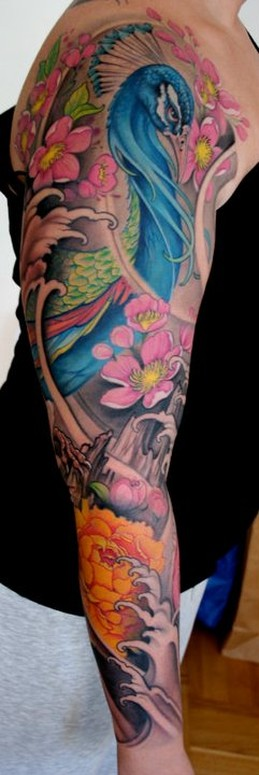 Peacock and flower sleeve by johan finne tattoonow for Traditional peacock tattoo