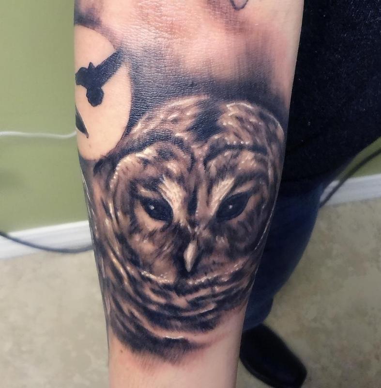 tattoonow tattoos ian robert mckown bard owl. Black Bedroom Furniture Sets. Home Design Ideas