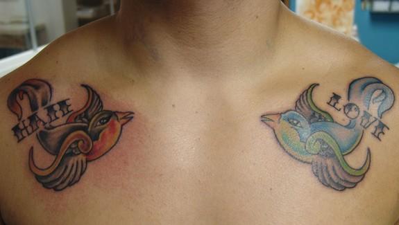 Love hate birds by frank kovalik tattoonow for Love n hate tattoo