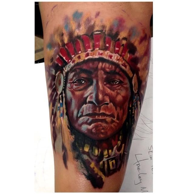 indian chief by timothy b boor tattoonow. Black Bedroom Furniture Sets. Home Design Ideas