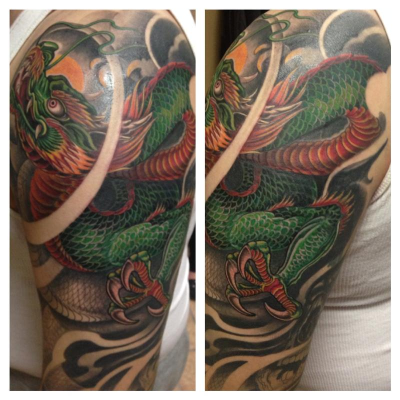 Dragon in progress by max egy tattoonow for Tattoo shops terre haute indiana