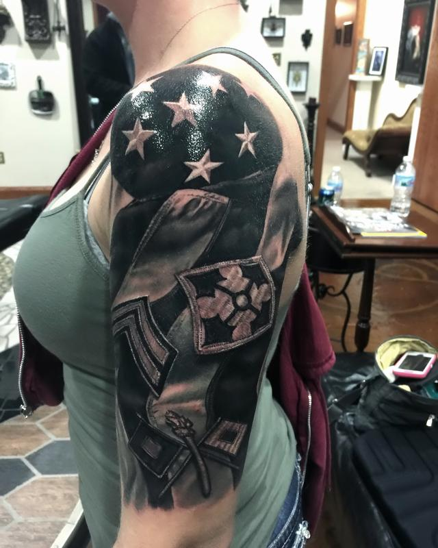 Flag military patch by timothy b boor tattoonow for Military sleeve tattoo
