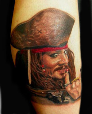 Captain jack sparrow by ron antonick tattoonow for Captain jack sparrow tattoo