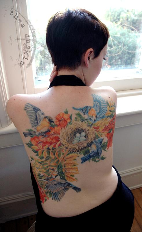 Bluebirds And Nest By Thea Duskin Tattoos