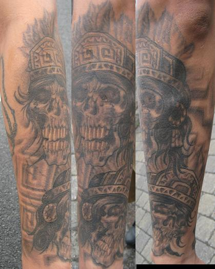 Aztec skulls by brian gallagher tattoonow for Living dead tattoo haverstraw ny