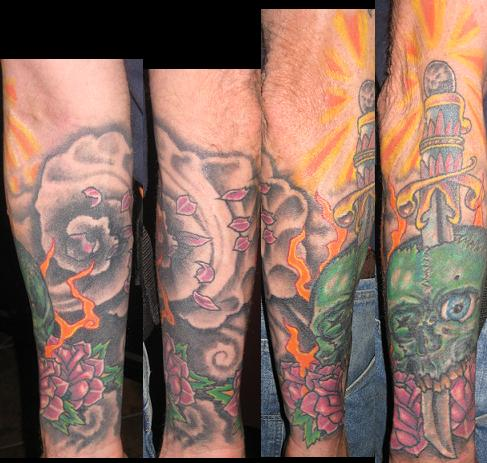 Half sleeve by brian gallagher tattoonow for Living dead tattoo haverstraw ny