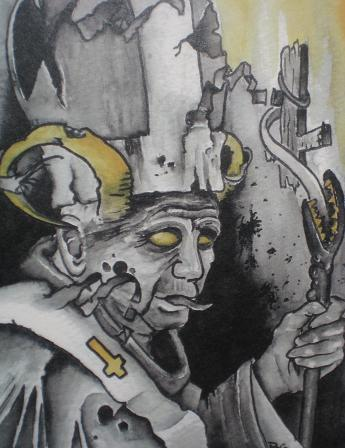 Evil pope by brian gallagher tattoonow for Living dead tattoo haverstraw ny