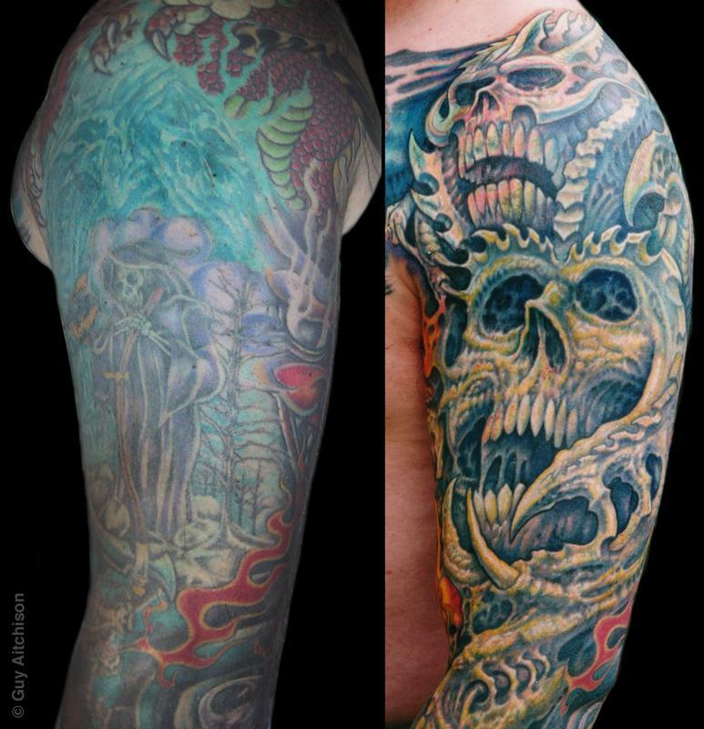 guy aitchison tattoos coverup robert upper arm closeup