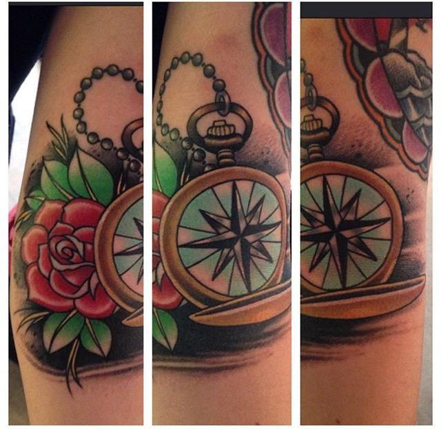 Traditional compass by michael lee suarez tattoos for Handcrafted tattoo shop fort lauderdale