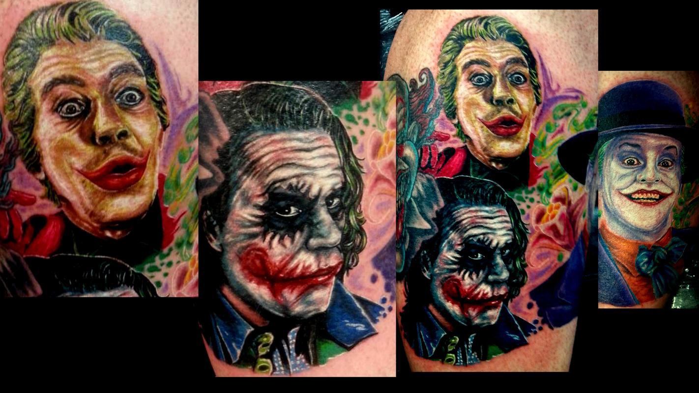 joker batman portrait tattoo leg by Haley Adams : Tattoos
