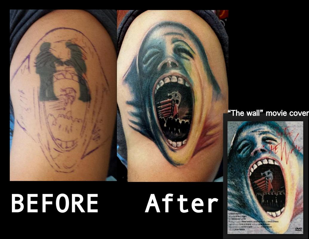 Before After Tattoo Cover Up Pink Floyd The Wall By Haley