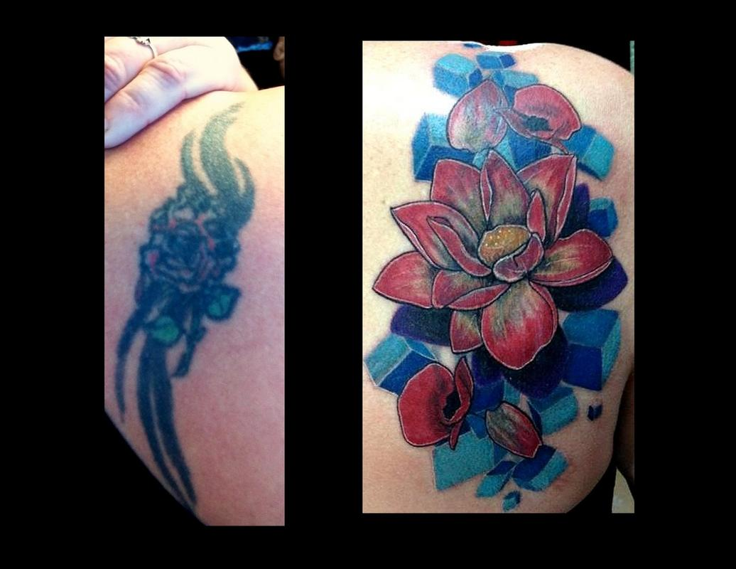 flower coverup tattoo by haley adams tattoos. Black Bedroom Furniture Sets. Home Design Ideas