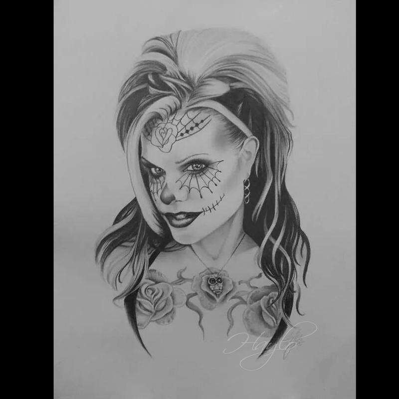 Haylo seld portrait of tattoo artist haylo in pencil graphite as a