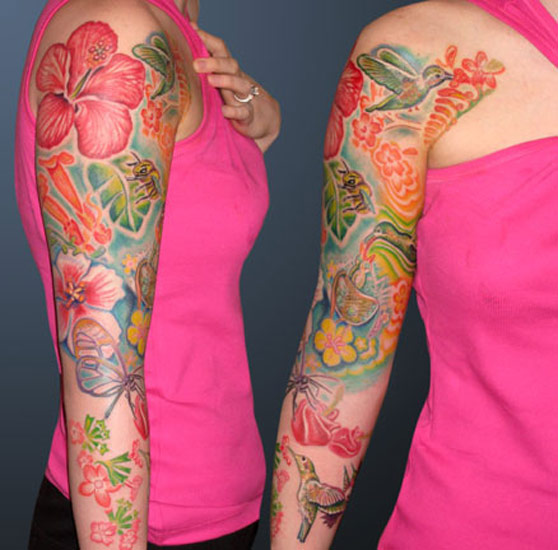 Flower Nature Tattoo: Hyperspace Studios : Tattoos : Nature : Humming Birds In
