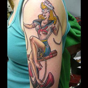 6e2b5ef0743ed Traditional Sailor Girl Tattoo by Tim MacNamara: TattooNOW :