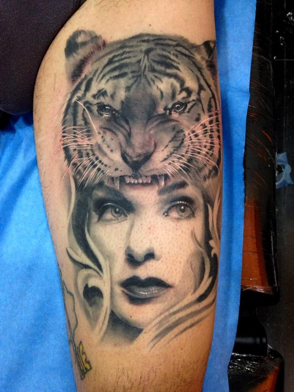 Tiger and girl realistic black and grey leg tattoo healed for Tiger tattoo for girl