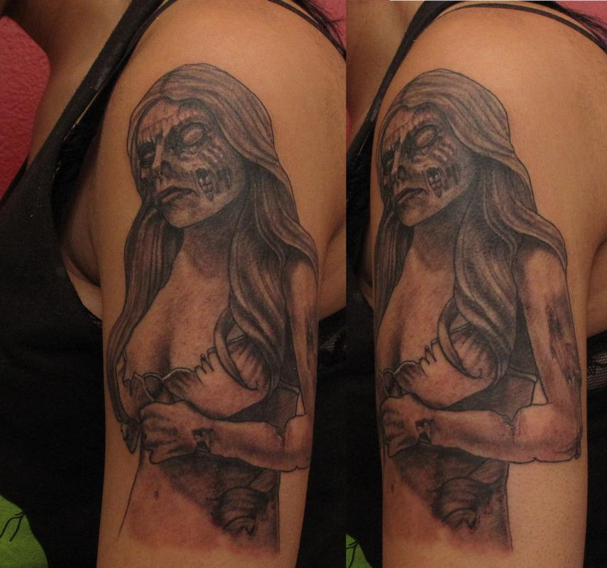 Devoted Ink : Tattoos : Pin Up : Zombie Woman Girl Tattoo