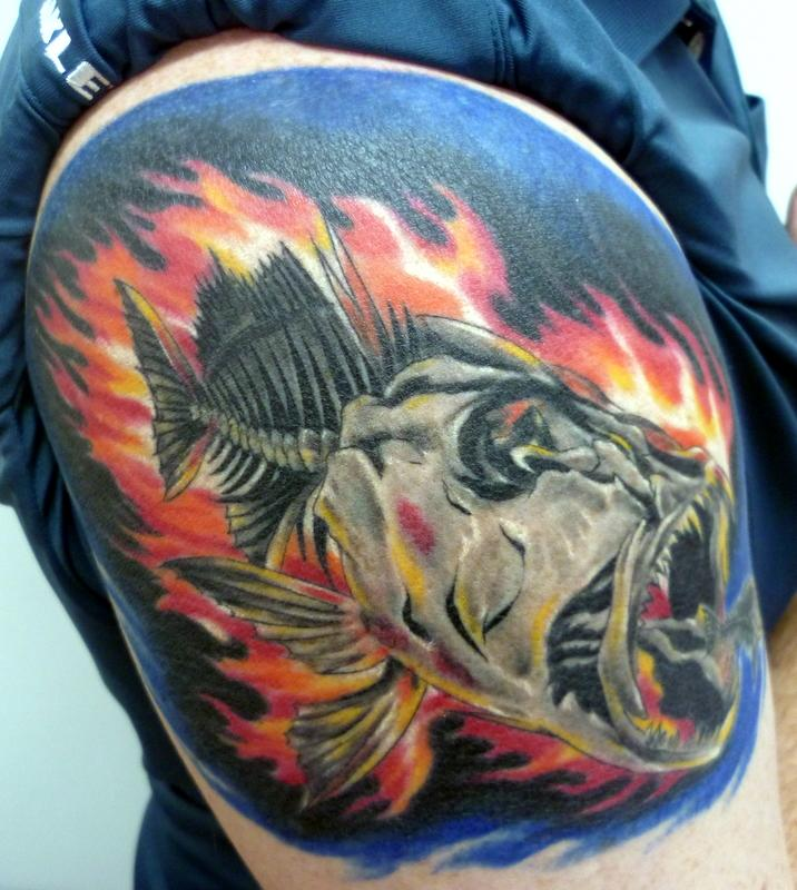 flamin fish by jeremy cook tattoonow. Black Bedroom Furniture Sets. Home Design Ideas