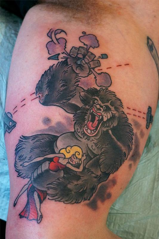 king kong by jamie clinton tattoonow. Black Bedroom Furniture Sets. Home Design Ideas