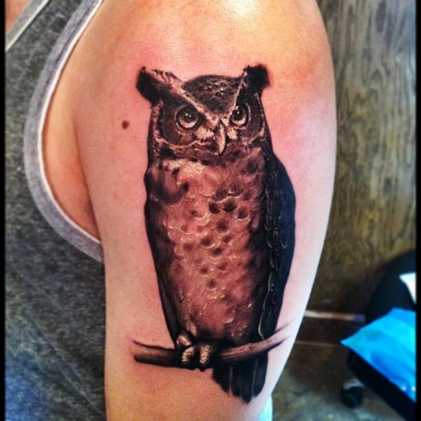 Great Horned Owl Black And Grey Tattoo Jeff Barnard - Great horned