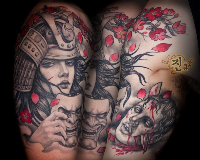 Тату девушка самурая
