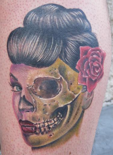 Half dead zombie geisha girl tattoo by jon von glahn for Tattoo shops in st cloud mn